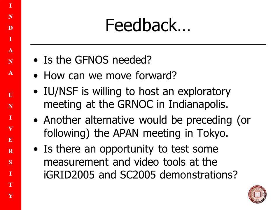 INDIANAUNIVERSITYINDIANAUNIVERSITY Feedback… Is the GFNOS needed.