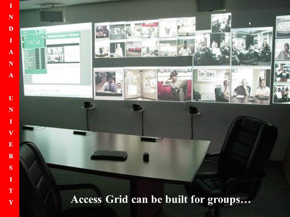INDIANAUNIVERSITYINDIANAUNIVERSITY Access Grid can be built for groups…