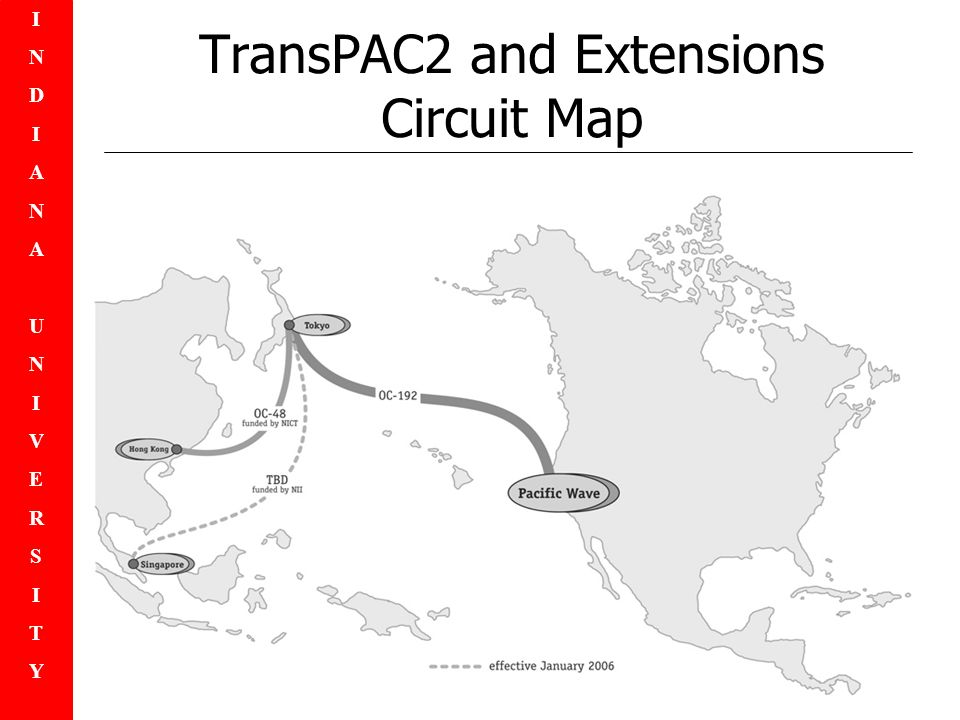 INDIANAUNIVERSITYINDIANAUNIVERSITY TransPAC2 and Extensions Circuit Map