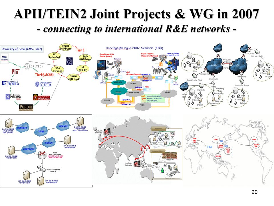 20 APII/TEIN2 Joint Projects & WG in 2007 - connecting to international R&E networks -
