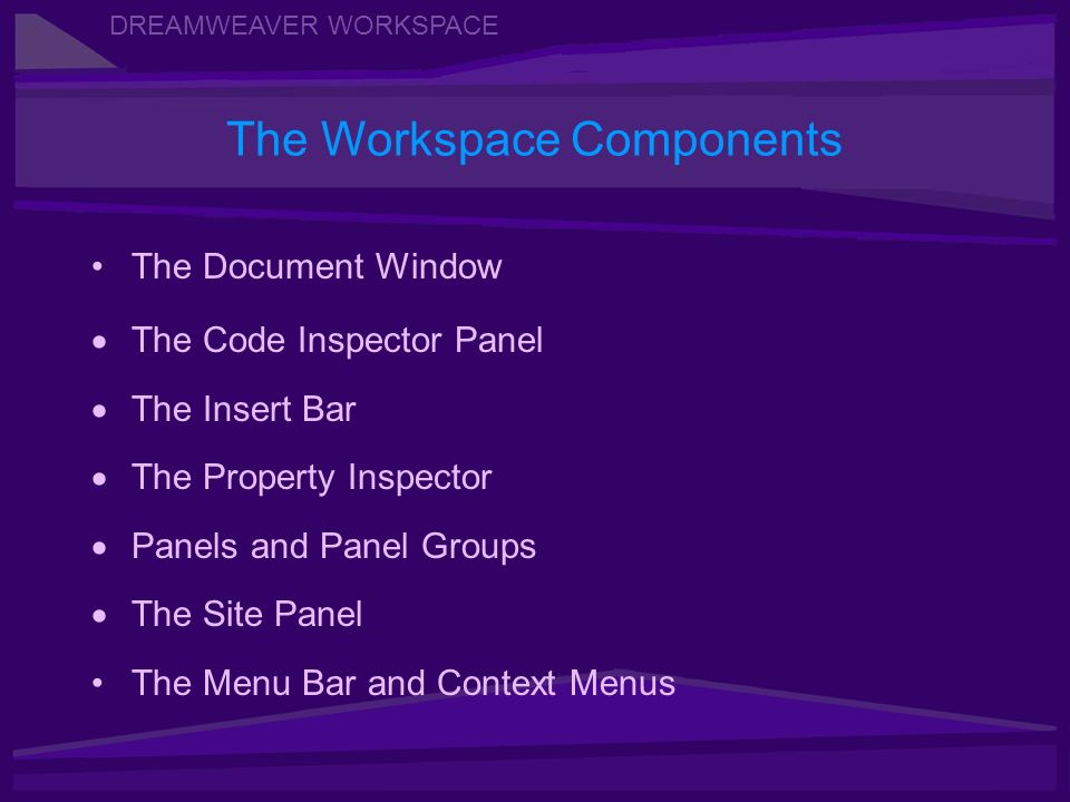 DREAMWEAVER WORKSPACE The Document Window The Code Inspector Panel The Insert Bar The Property Inspector Panels and Panel Groups The Site Panel The Menu Bar and Context Menus The Workspace Components