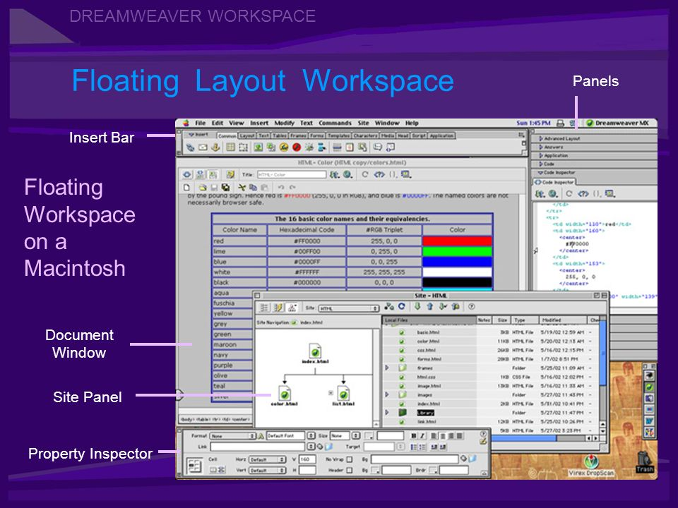 DREAMWEAVER WORKSPACE Floating Layout Workspace Floating Workspace on a Macintosh Insert Bar Property Inspector Document Window Panels Site Panel