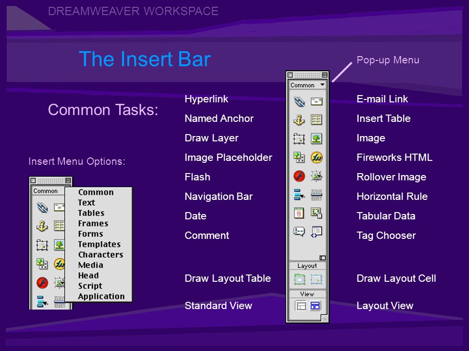 DREAMWEAVER WORKSPACE The Insert Bar Navigation Bar Image Insert Table Image Placeholder HyperlinkE-mail Link Named Anchor Draw Layer Fireworks HTML Flash Tabular Data Common Tasks: Date Comment Rollover Image Horizontal Rule Tag Chooser Draw Layout Table Standard ViewLayout View Draw Layout Cell Pop-up Menu Insert Menu Options: