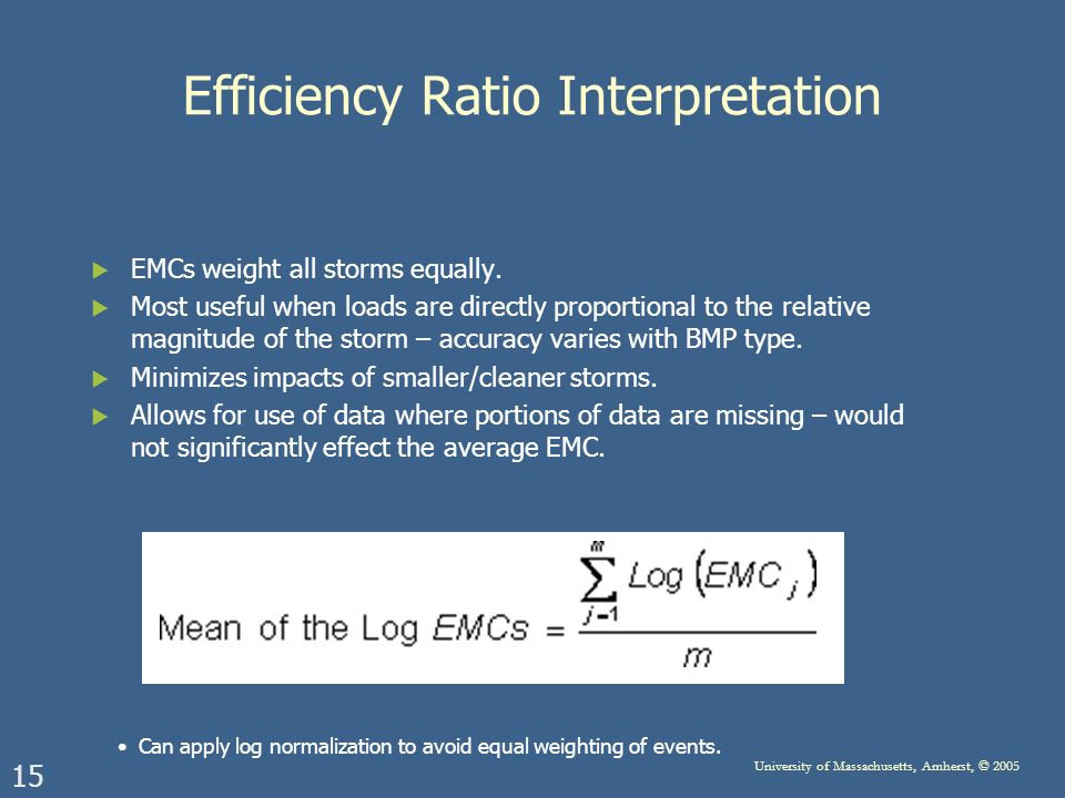 15 University of Massachusetts, Amherst, © 2005 Efficiency Ratio Interpretation EMCs weight all storms equally. Most useful when loads are directly pr
