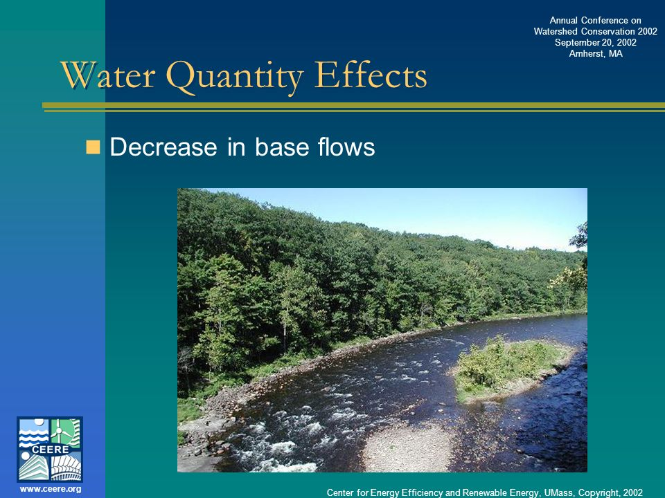 Annual Conference on Watershed Conservation 2002 September 20, 2002 Amherst, MA www.ceere.org Center for Energy Efficiency and Renewable Energy, UMass, Copyright, 2002 Federal Regulations 1987 Clean Water Act Amendments (U.S.