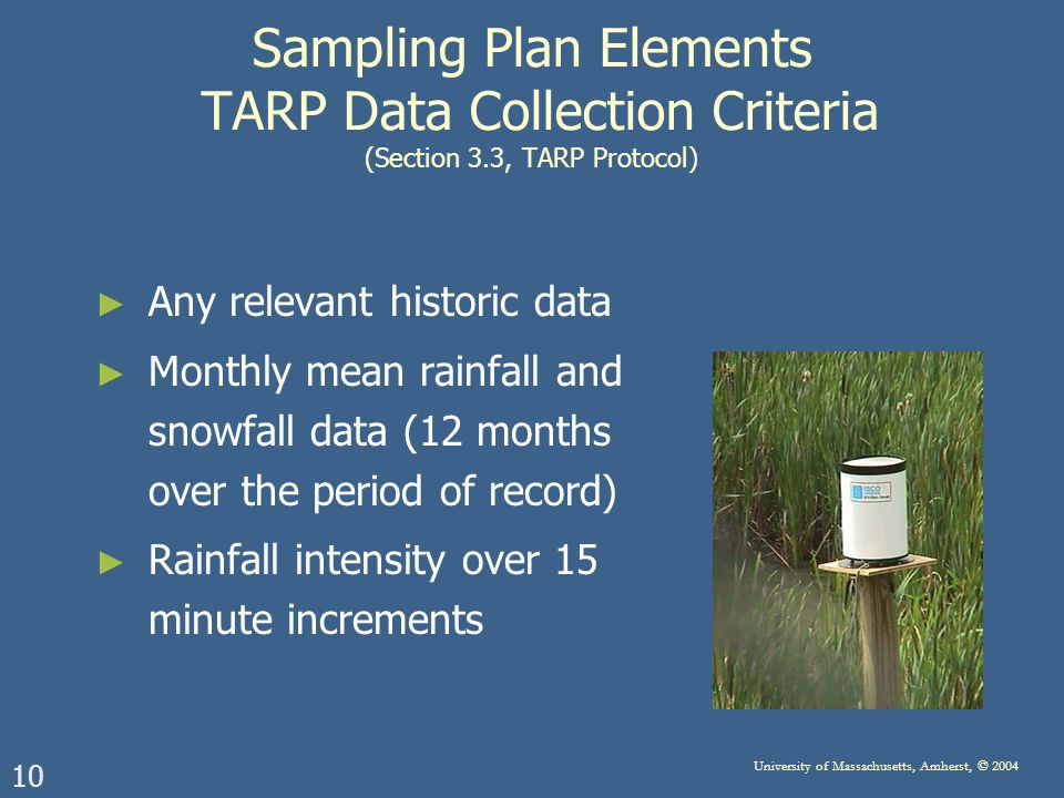 10 University of Massachusetts, Amherst, © 2004 Sampling Plan Elements TARP Data Collection Criteria (Section 3.3, TARP Protocol) Any relevant historic data Monthly mean rainfall and snowfall data (12 months over the period of record) Rainfall intensity over 15 minute increments