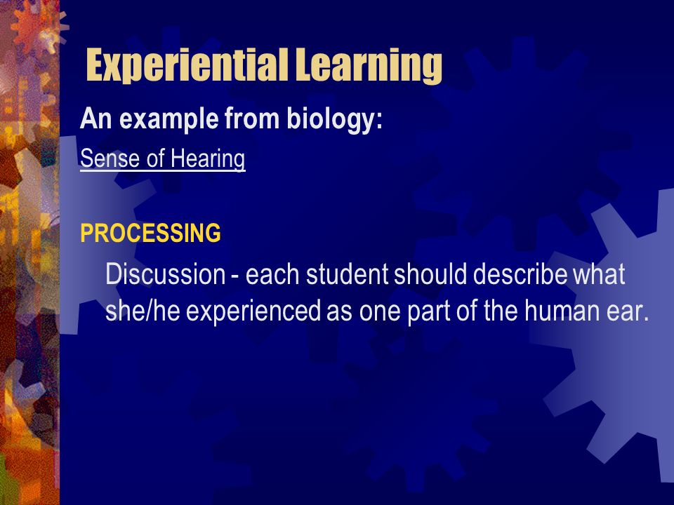 Experiential Learning An example from biology: Sense of Hearing PROCESSING Discussion - each student should describe what she/he experienced as one pa