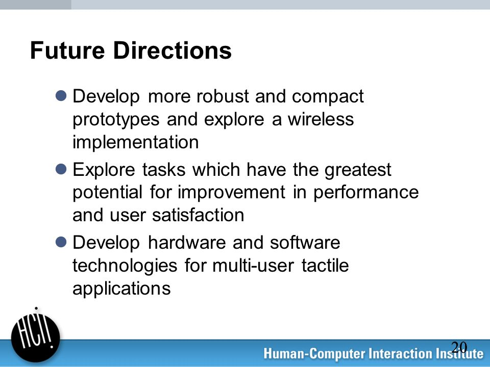 20 Future Directions Develop more robust and compact prototypes and explore a wireless implementation Explore tasks which have the greatest potential