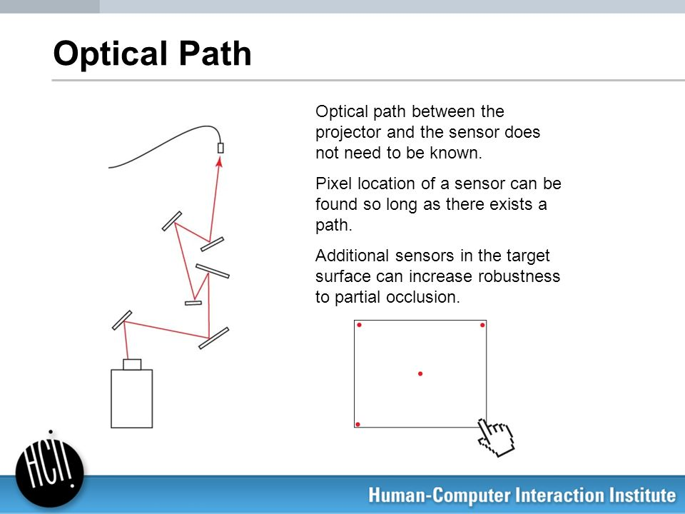 Optical Path Optical path between the projector and the sensor does not need to be known. Pixel location of a sensor can be found so long as there exi