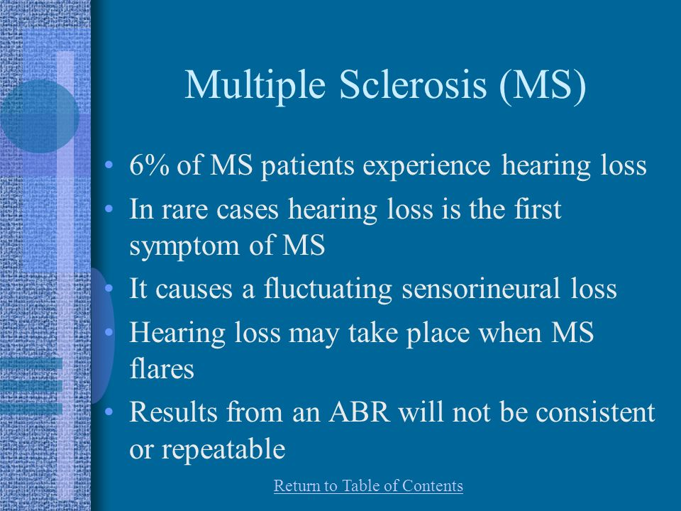 Multiple Sclerosis (MS) 6% of MS patients experience hearing loss In rare cases hearing loss is the first symptom of MS It causes a fluctuating sensorineural loss Hearing loss may take place when MS flares Results from an ABR will not be consistent or repeatable Return to Table of Contents