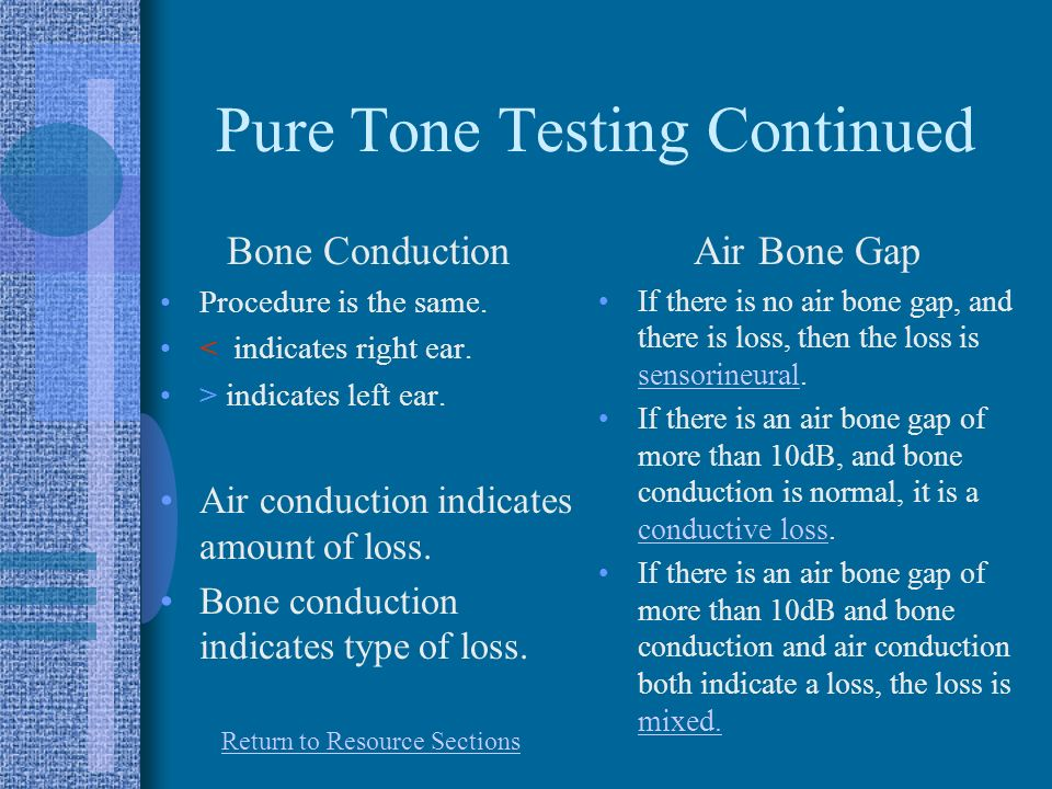 Pure Tone Testing Continued Bone Conduction Procedure is the same.
