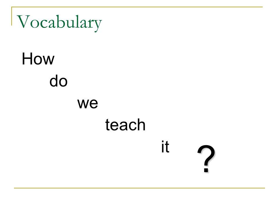 Vocabulary How do we teach it ?