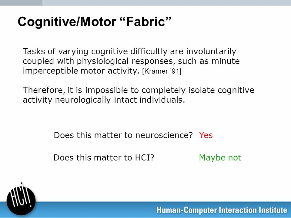 Cognitive/Motor Fabric Does this matter to neuroscience?Yes Does this matter to HCI? Maybe not Tasks of varying cognitive difficultly are involuntaril