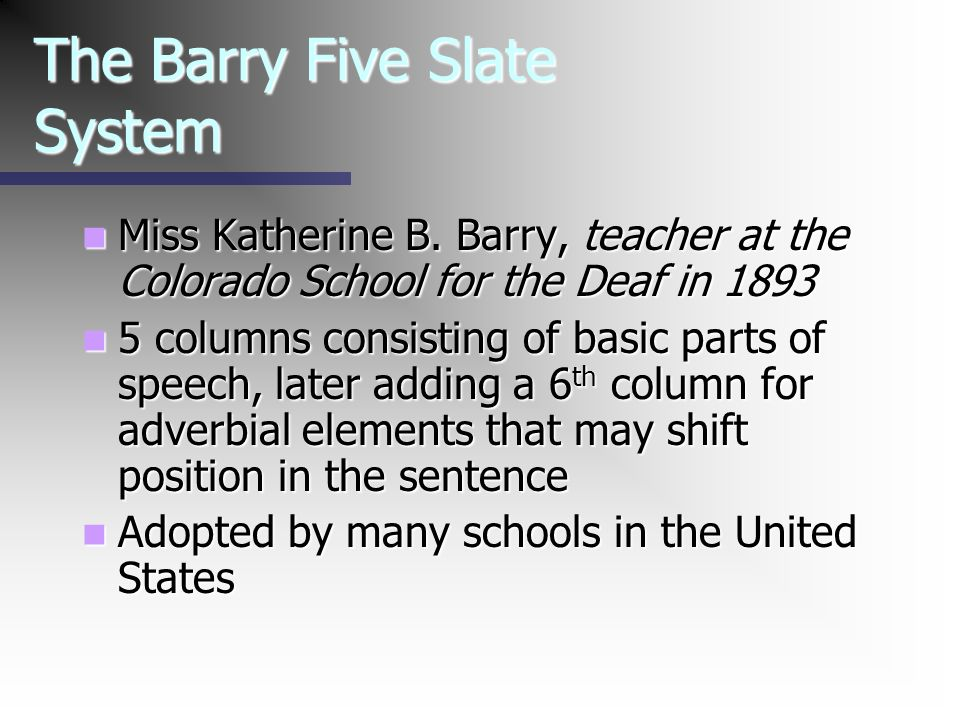 The Barry Five Slate System Miss Katherine B. Barry, teacher at the Colorado School for the Deaf in 1893 Miss Katherine B. Barry, teacher at the Color
