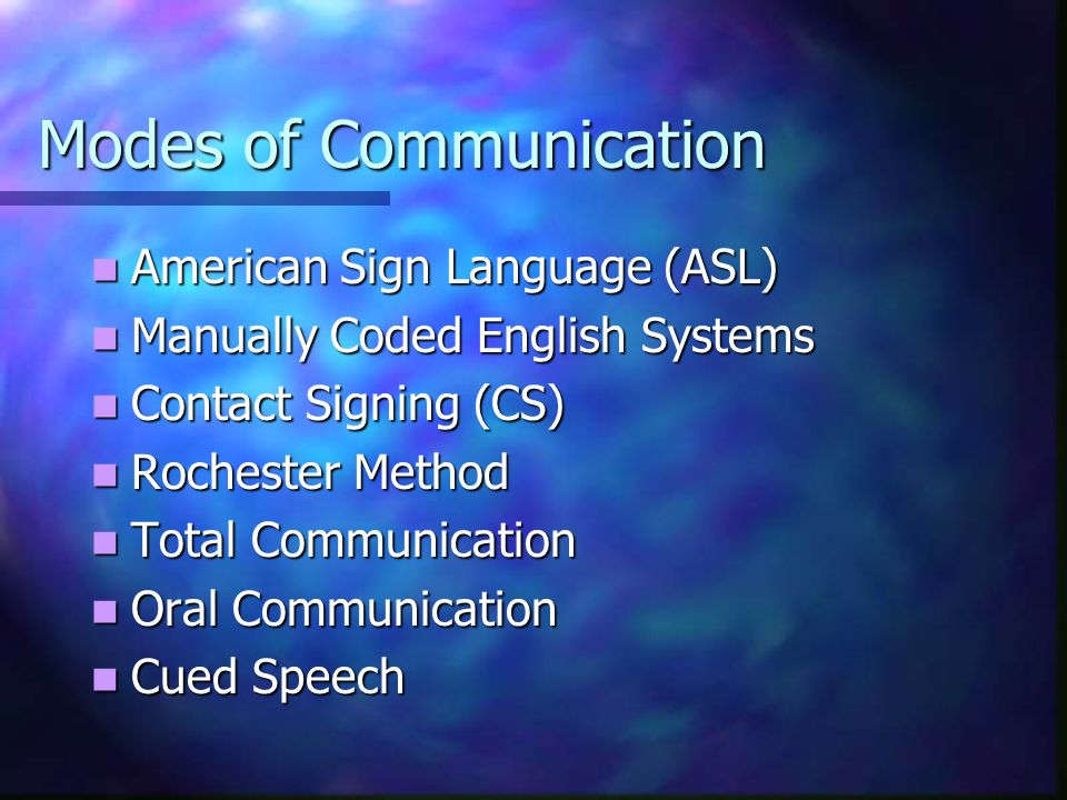 Modes of Communication American Sign Language (ASL) American Sign Language (ASL) Manually Coded English Systems Manually Coded English Systems Contact