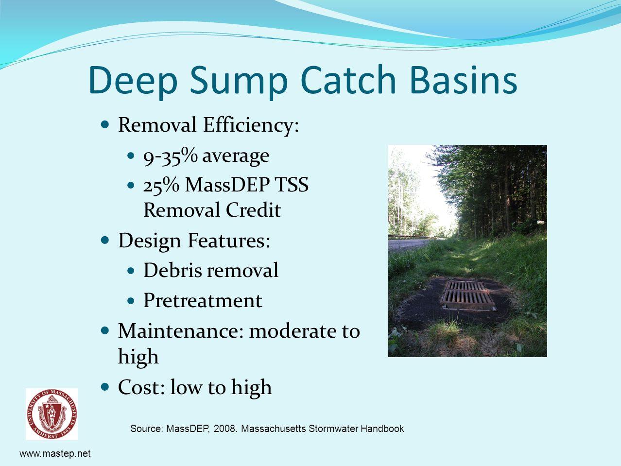 www.mastep.net Deep Sump Catch Basins Removal Efficiency: 9-35% average 25% MassDEP TSS Removal Credit Design Features: Debris removal Pretreatment Ma