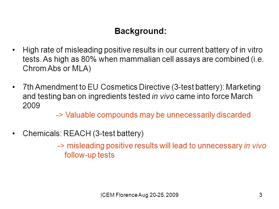ICEM Florence Aug 20-25, Background: High rate of misleading positive results in our current battery of in vitro tests.