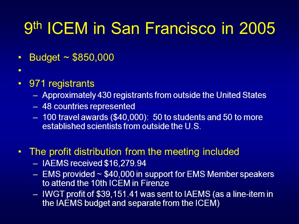 9 th ICEM in San Francisco in 2005 Budget ~ $850, registrants –Approximately 430 registrants from outside the United States –48 countries represented –100 travel awards ($40,000): 50 to students and 50 to more established scientists from outside the U.S.