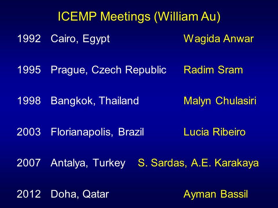 ICEMP Meetings (William Au) 1992 Cairo, EgyptWagida Anwar 1995 Prague, Czech Republic Radim Sram 1998 Bangkok, Thailand Malyn Chulasiri 2003 Florianap
