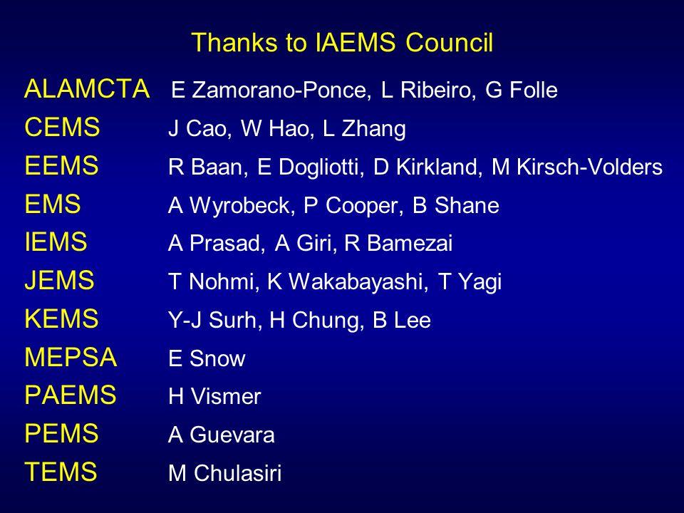 Thanks to IAEMS Council ALAMCTA E Zamorano-Ponce, L Ribeiro, G Folle CEMS J Cao, W Hao, L Zhang EEMS R Baan, E Dogliotti, D Kirkland, M Kirsch-Volders