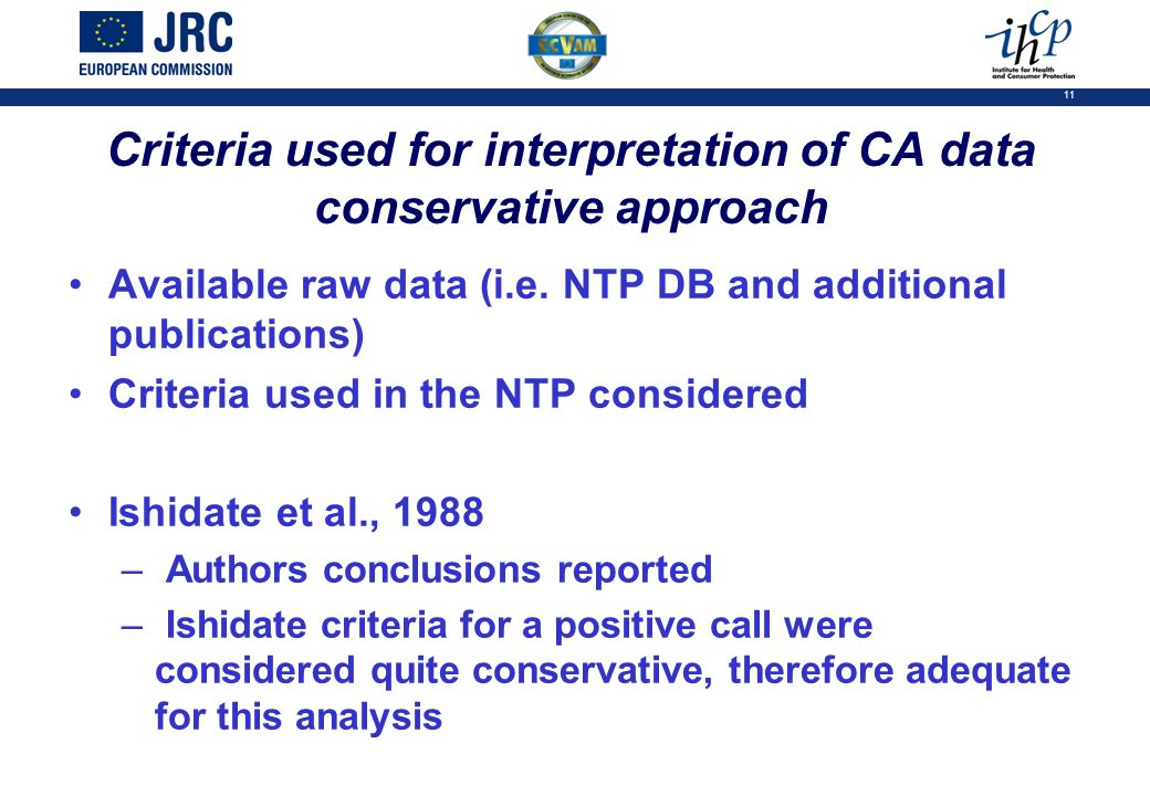11 Criteria used for interpretation of CA data conservative approach Available raw data (i.e. NTP DB and additional publications) Criteria used in the