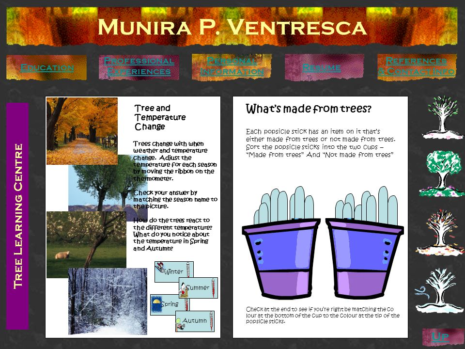 Tree Learning Centre Munira P. Ventresca Personal Information Education Professional Experiences References & Contact Info Resume Up Trees change with