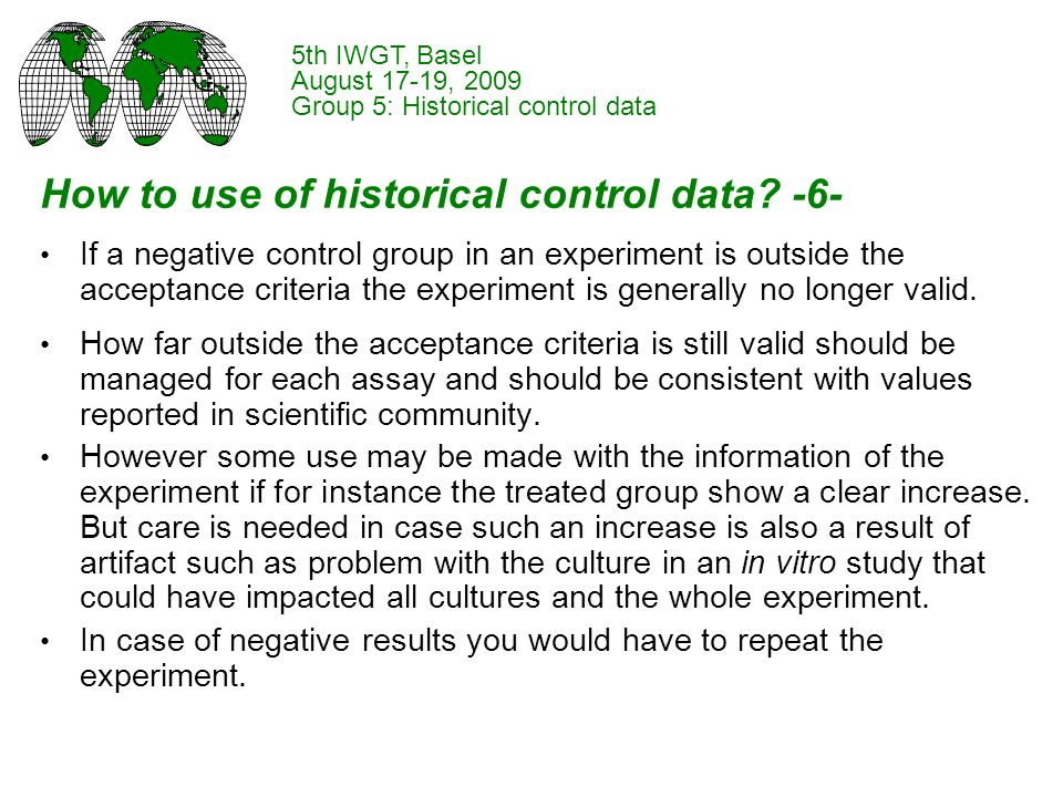 How to use of historical control data.