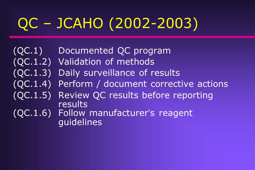 QC – JCAHO (2002-2003) (QC.1)Documented QC program (QC.1.2)Validation of methods (QC.1.3)Daily surveillance of results (QC.1.4)Perform / document corr