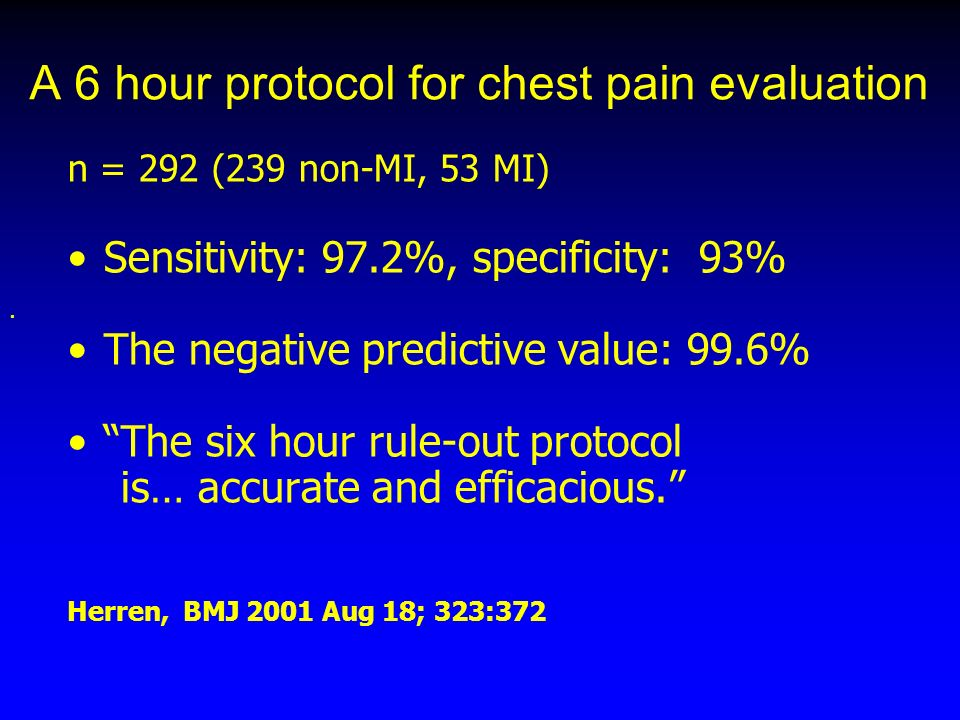 A 6 hour protocol for chest pain evaluation n = 292 (239 non-MI, 53 MI) Sensitivity: 97.2%, specificity: 93% The negative predictive value: 99.6% The six hour rule-out protocol is… accurate and efficacious.