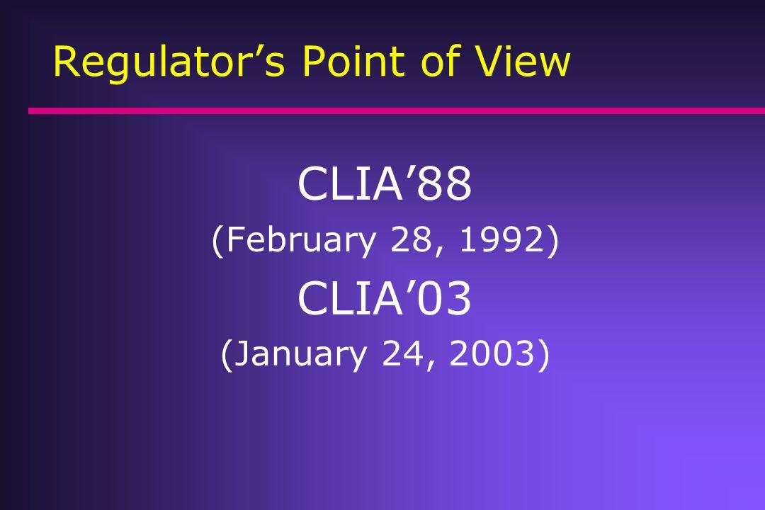 Regulators Point of View U.S.