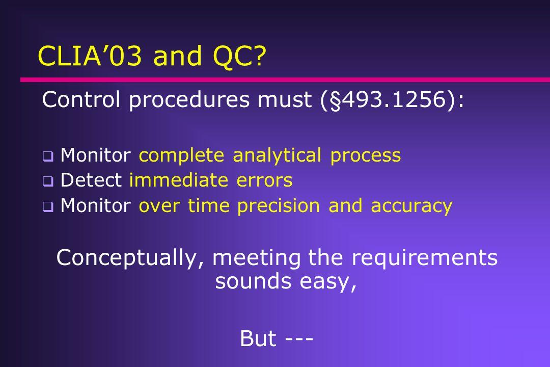 CLIA 03 and QC.