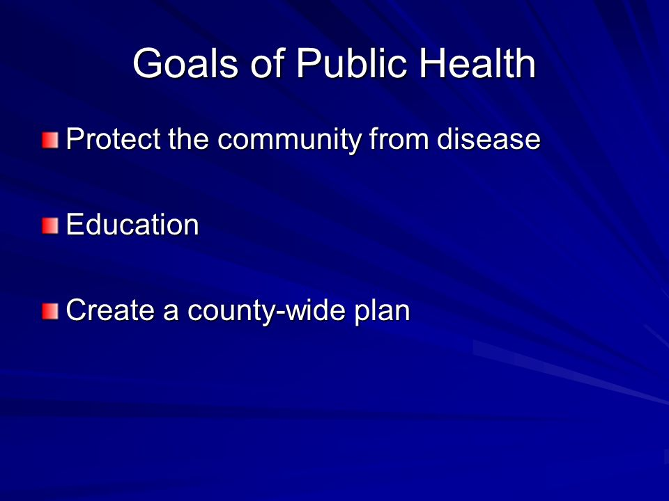 Goals of Public Health Protect the community from disease Education Create a county-wide plan