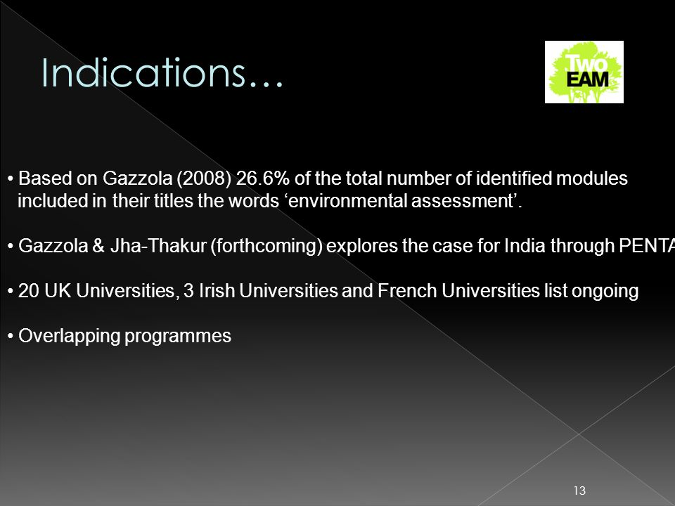 13 Based on Gazzola (2008) 26.6% of the total number of identified modules included in their titles the words environmental assessment. Gazzola & Jha-