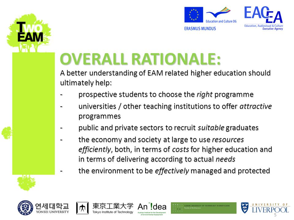 5 A better understanding of EAM related higher education should ultimately help: -prospective students to choose the right programme -universities / other teaching institutions to offer attractive programmes -public and private sectors to recruit suitable graduates -the economy and society at large to use resources efficiently, both, in terms of costs for higher education and in terms of delivering according to actual needs -the environment to be effectively managed and protected OVERALL RATIONALE: