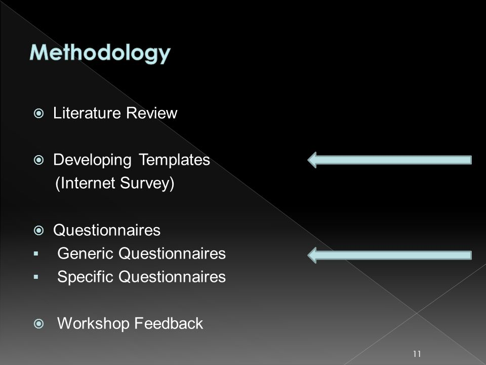 Literature Review Developing Templates (Internet Survey) Questionnaires Generic Questionnaires Specific Questionnaires Workshop Feedback 11
