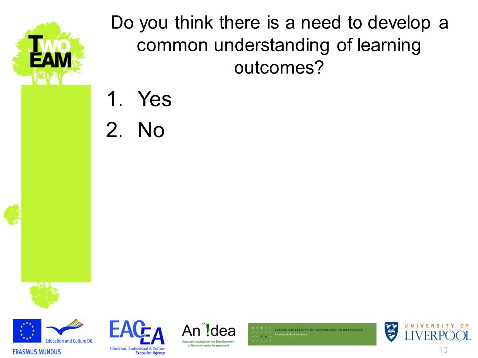10 Do you think there is a need to develop a common understanding of learning outcomes 1.Yes 2.No