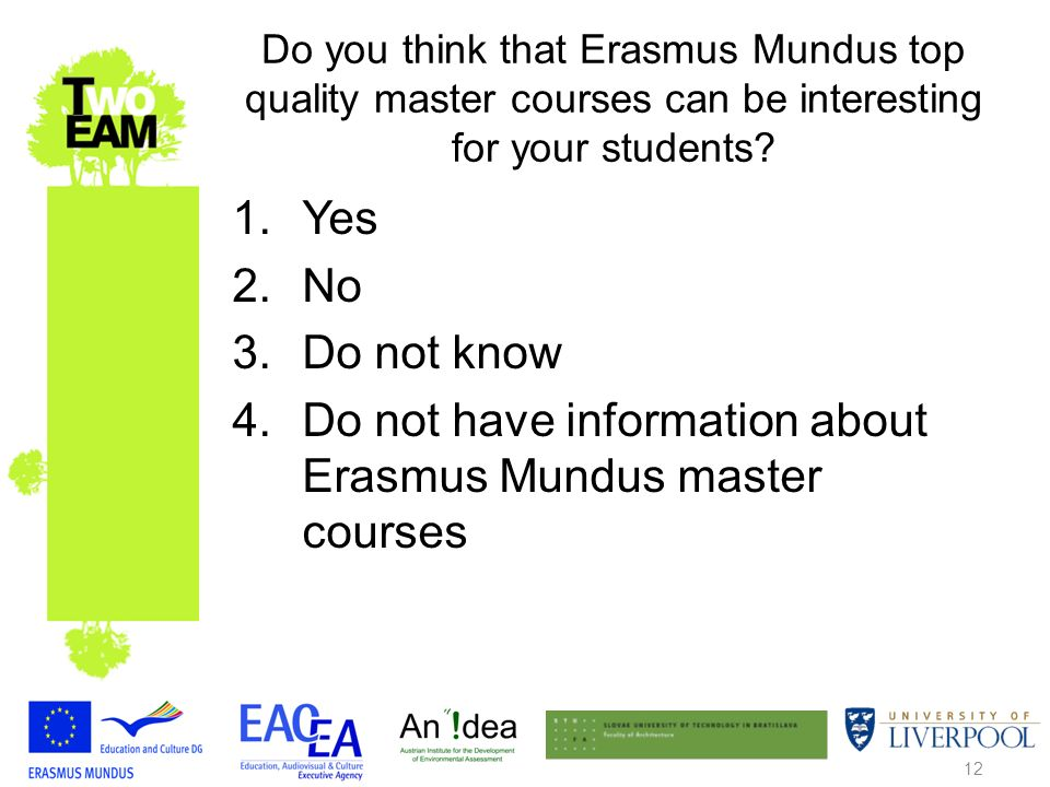 12 Do you think that Erasmus Mundus top quality master courses can be interesting for your students.