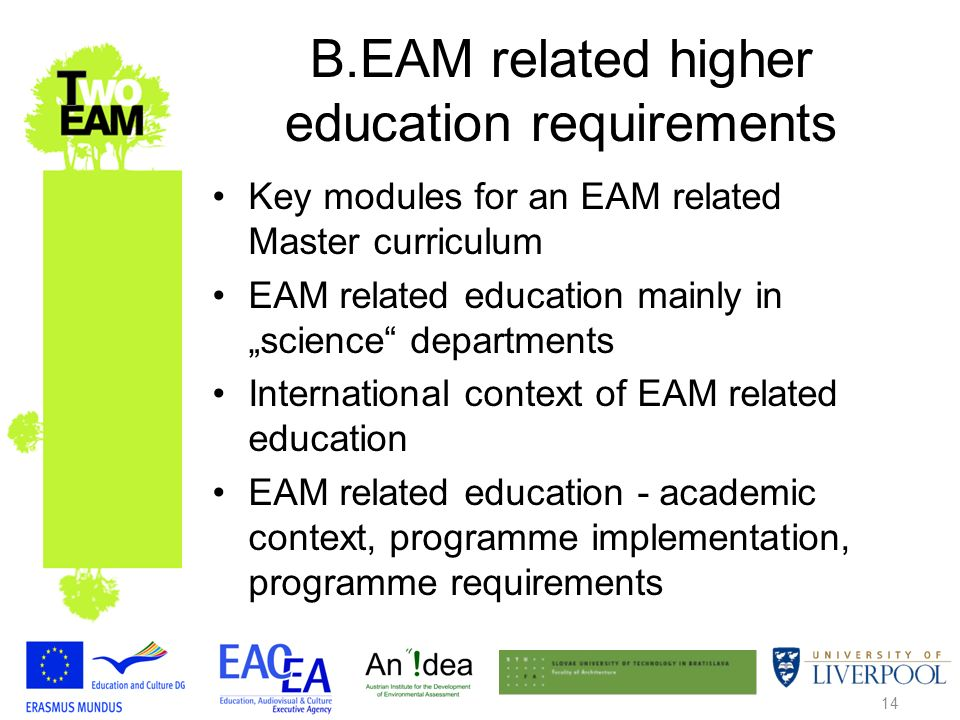 14 B.EAM related higher education requirements Key modules for an EAM related Master curriculum EAM related education mainly in science departments International context of EAM related education EAM related education - academic context, programme implementation, programme requirements