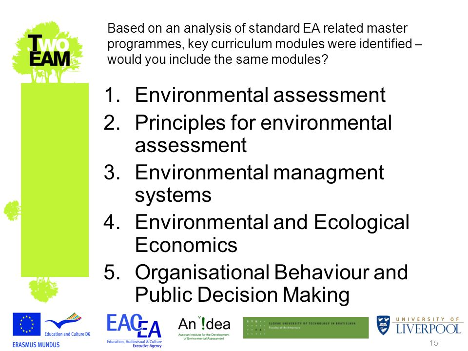 15 Based on an analysis of standard EA related master programmes, key curriculum modules were identified – would you include the same modules.