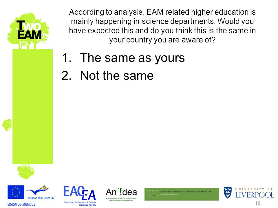 18 According to analysis, EAM related higher education is mainly happening in science departments.
