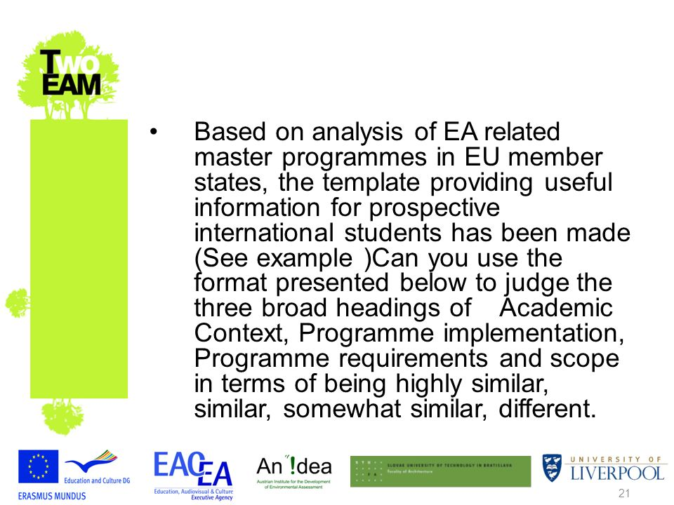 21 Based on analysis of EA related master programmes in EU member states, the template providing useful information for prospective international students has been made (See example )Can you use the format presented below to judge the three broad headings of Academic Context, Programme implementation, Programme requirements and scope in terms of being highly similar, similar, somewhat similar, different.