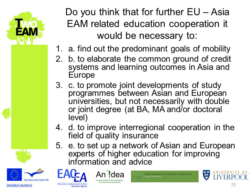 25 Do you think that for further EU – Asia EAM related education cooperation it would be necessary to: 1.a.