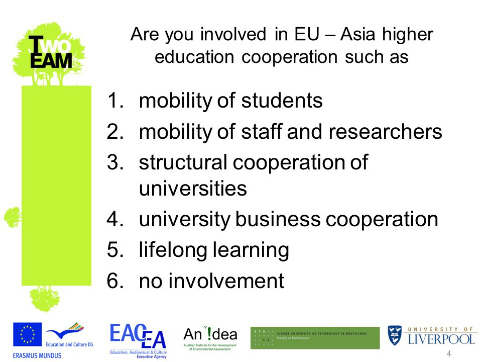 4 Are you involved in EU – Asia higher education cooperation such as 1.mobility of students 2.mobility of staff and researchers 3.structural cooperation of universities 4.university business cooperation 5.lifelong learning 6.no involvement