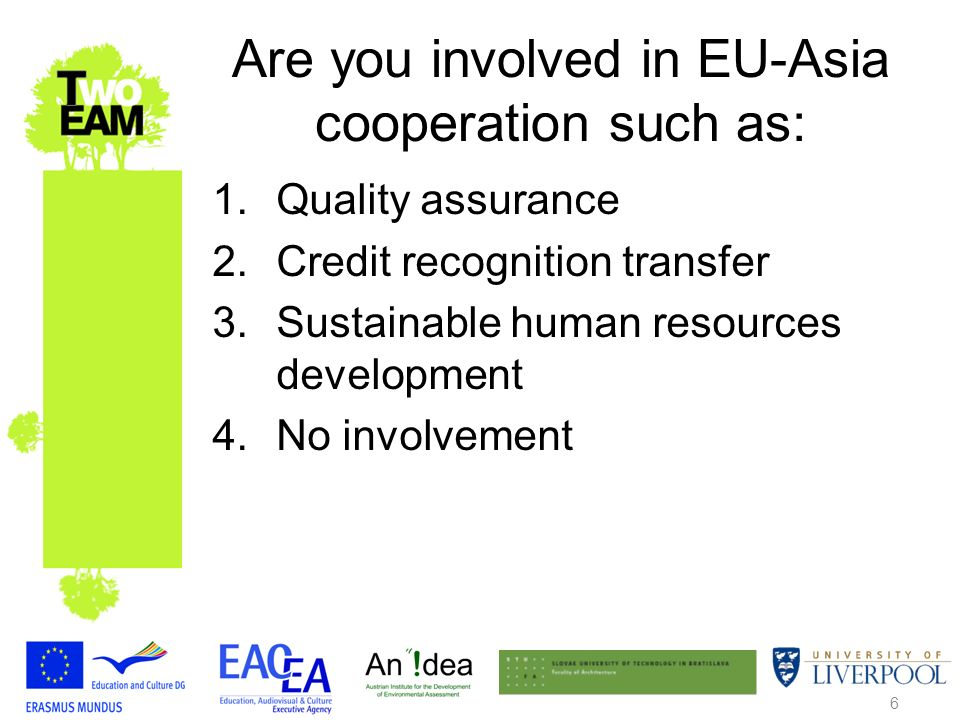 6 Are you involved in EU-Asia cooperation such as: 1.Quality assurance 2.Credit recognition transfer 3.Sustainable human resources development 4.No involvement