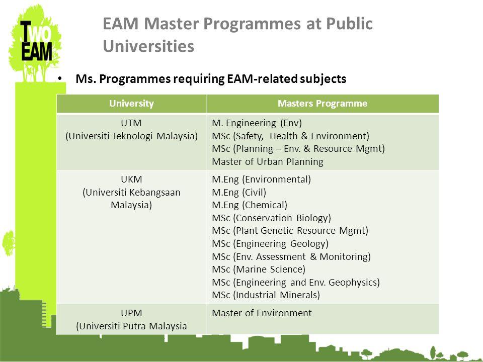 23-24 Sept 2010, University of Graz, Austria EAM Master Programmes at Public Universities Ms.