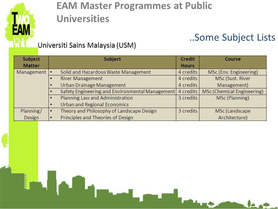 23-24 Sept 2010, University of Graz, Austria Universiti Sains Malaysia (USM) Subject Matter SubjectCredit Hours Course Management Solid and Hazardous Waste Management4 creditsMSc (Env.
