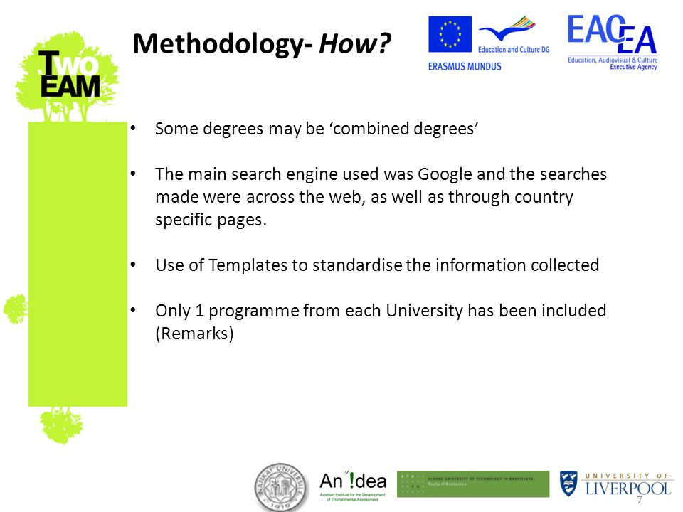 7 Some degrees may be combined degrees The main search engine used was Google and the searches made were across the web, as well as through country specific pages.