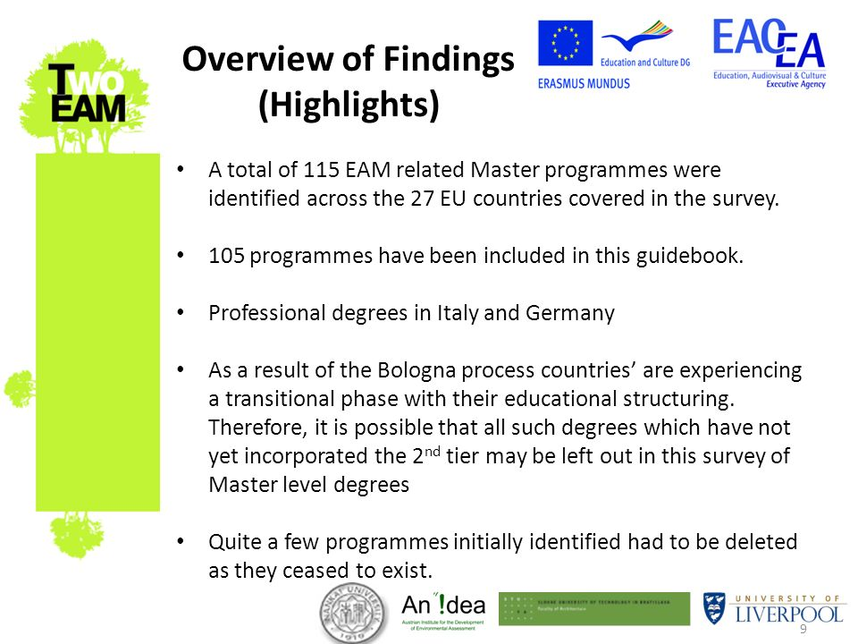 9 A total of 115 EAM related Master programmes were identified across the 27 EU countries covered in the survey. 105 programmes have been included in