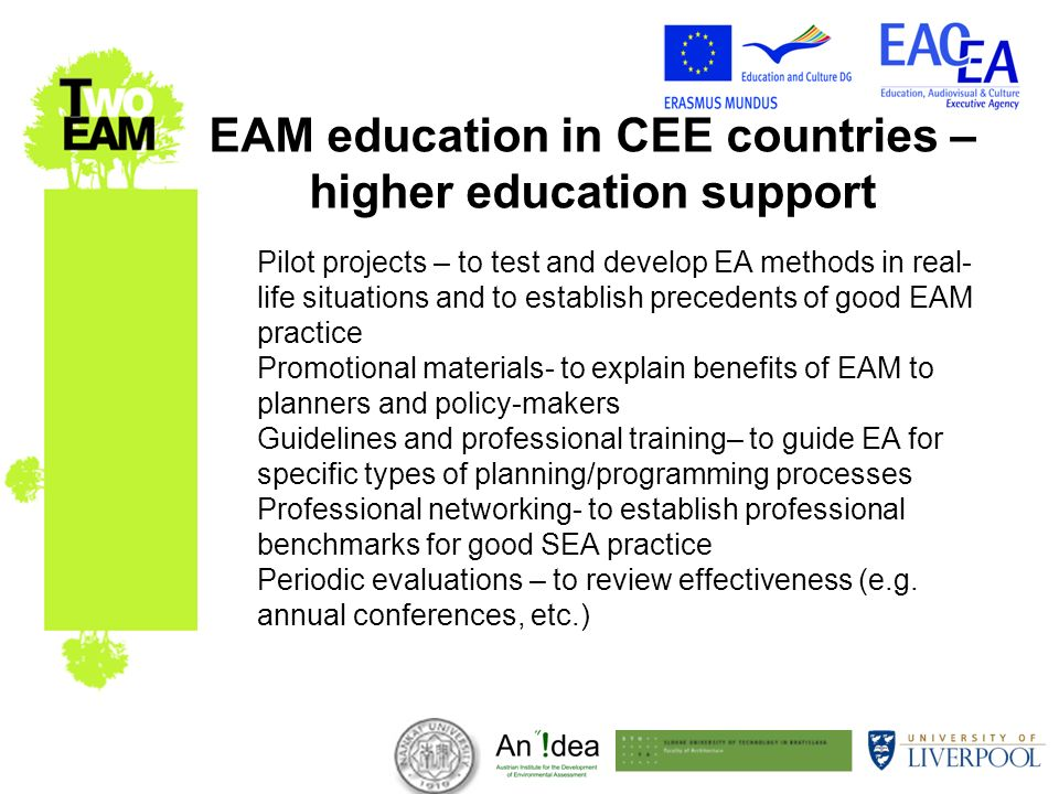 EAM education in CEE countries – higher education support Pilot projects – to test and develop EA methods in real- life situations and to establish precedents of good EAM practice Promotional materials- to explain benefits of EAM to planners and policy-makers Guidelines and professional training– to guide EA for specific types of planning/programming processes Professional networking- to establish professional benchmarks for good SEA practice Periodic evaluations – to review effectiveness (e.g.