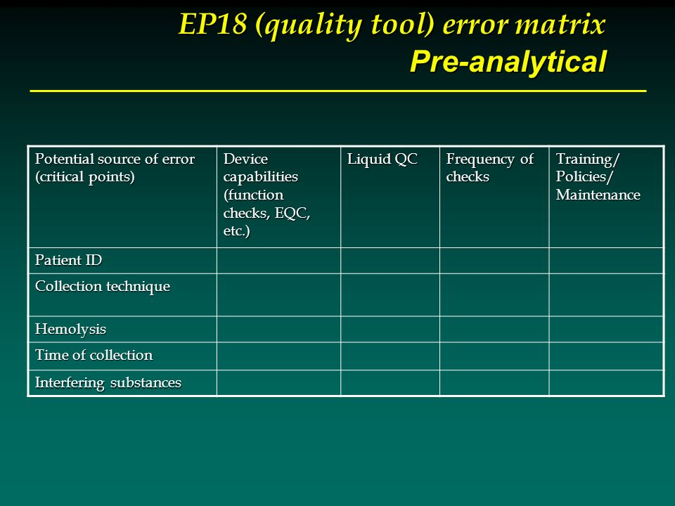 EP18 (quality tool) error matrix Pre-analytical Potential source of error (critical points) Device capabilities (function checks, EQC, etc.) Liquid QC Frequency of checks Training/Policies/Maintenance Patient ID Collection technique Hemolysis Time of collection Interfering substances